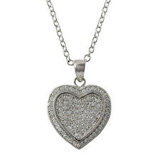 White CZs Micro Pave Sterling Silver Heart Necklace Pendant