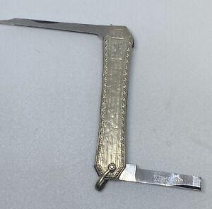 "10k White Gold Antique ESEMCO Pocket Knife - Marked ""10K Pat July 20 1915""-16G"