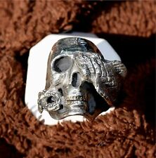 OLD SCHOOL Biker/Gothic style skull/cobra snake  Sterling silver ring, USA Made!