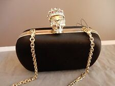 $1,895 New ALEXANDER MCQUEEN Royal Skull Crystal crown Box clutch cross body bag