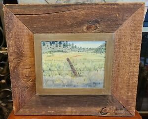 Vintage Large Rustic Primitive Authentic Barn Wood Frame Barbed Wire Field 18x16
