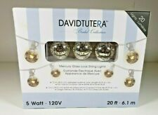 David Tutera 20 Foot White Cord String Lights Bulb Silver Mercury Glass Look NEW