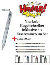 Vierfarben-Kugelschreiber Metall-glanz mit Schiebemechanik +/oder 4x Ersatzminen