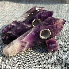 Long Natural Dreamy Amethyst Crystal Quartz Wand Healing Smoking Pipe Best Gift