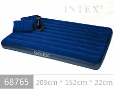 INTEX INFLATABLE CLASSIC QUEEN SIZE DOUBLE AIR BED WITH HAND PUMP & 2 PILLOW.