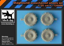 BLACK DOG STAGHOUND SNOWCHAINED WHEELS SET BRONCO MODELS 1:35 cod.T35008