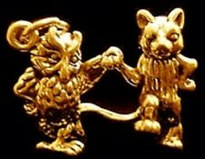 LOOK New 3-D The Owl and the Pussycat Charm Gold Plated Cat