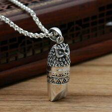 GLASS EYES STERLING SILVER CHASED OWL WHISTLE//PENDANT
