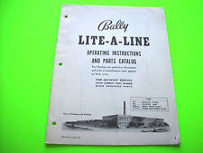 Bally 1961 Lite A Line Bingo Pinball Machine Original Operation & Parts Manual