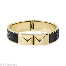 Michael Kors Mkj2889 Black and Gold Python Embossed Pyramid Bracelet