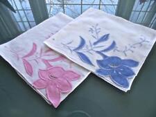 2 Vintage Madeira Cotton Handkerchiefs Pink Blue Applique Flowers Wedding Hankie