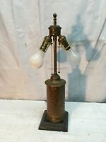 Antique Brass Double Cluster Pull Chain Table Lamp Rewired Working Good