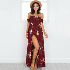 Women Vintage Floral Off Shoulder Long Maxi Dress Romper Summer Holiday Jumpsuit