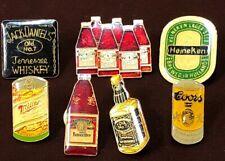 7 VINTAGE ALCOHOL PINS JACK DANIELS COORS MILLER HEINEKEN BUDWEISER BOTTLE 6PACK