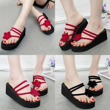Fashion Women Beach High Heel Wedge Platform Flip Flops Sandal Slipper Shoes New