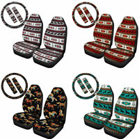 Aztec Horse Car Seat Covers Combo Set Steering Wheel Cover Belt Pads Auto Decor