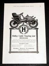 1903 OLD MAGAZINE PRINT AD, THE HOLLEY LIGHT TOURING CAR, STRONGLY CONSTRUCTED!
