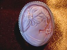 C-1452) Italian shell carved CAMEO Italy sterling silver gold Pin Pendant brooch