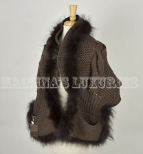 $1,900 GUCCI SCARF KNITTED WOOL SILK FOX FUR WITH POCKETS BROWN 16 x 58