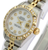 Womens Rolex Datejust White MOP Diamond Dial Diamond Bezel 26mm -QUICKSET