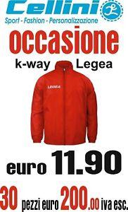 K-way Legea con Cappuccio e Zip (Offerta 244 euro 30 Pezzi) Xs  S M L Xl