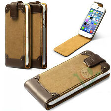 Custodia tessuto canvas pelle ZENUS Rock Vintage Beige per iPhone 5 5S SE cover