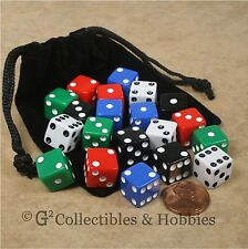 NEW Set of 20 Multicolor 12mm Dice & Bag Six Sided RPG Game MTG D6 WARHAMMER