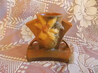 1940's ROSEVILLE POTTERY CLEMATIS DBL HANDLED VASE 192-5  EXCELLENT CONDITION