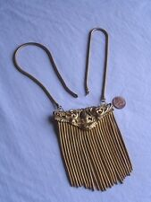 Vintage REPOUSSE Fringe Runway Necklace Jewelry Goldtone