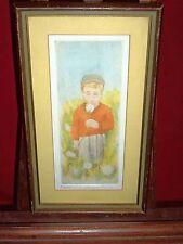 Framed Etching / Aquatint - Boy In Field W/ Dandelions - John Le Quintana 27/100