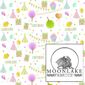Birthday Party 100% Quality Cotton Poplin Fabric *Exclusive*