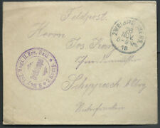1916 WWI Military 8th Bay. Infantry Regiment Germany Feldpost / Fieldpost Cover