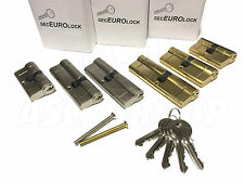 SecEuro Euro PVC Door Lock BRASS 45/50mm with 5 Keys Anti Drill Pick Bump Snap