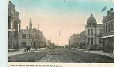 North Dakota, ND, Devils Lake, Fourth Street Looking West Early Postcard