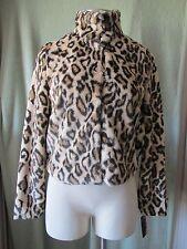 "Juniors Bongo Leopard Print Fully Lined Jacket NWT $80 Faux Fur So Soft S 32"" SL"