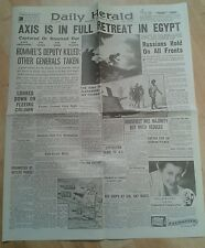 Daily Herald Newspaper WW2- Nov 5th 1942- Axis is in full retreat in Egypt.