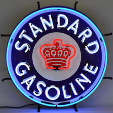 Real Neon Sign Standard Red Crown Gasoline Gas Pump and Oil Globe garage Ul lamp