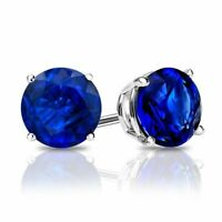 Estate 2ctw Cut Blue Sapphire Round Stud 18K White Gold Plated Earrings