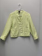 Madison Studio Womens Size 10 100% Linen Key Lime Pants and L/S Shirt Set