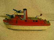 "Vintage Ideal Fire Fighter Boat With Sound Hard Plastic 15"" Long"