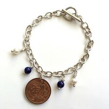 VINTAGE 2 CENT COIN, LAPIS & PEARL HANDMADE STERLING SILVER 925 CHAIN BRACELET