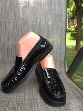 b3abe9ae98d EUC TOD S women s Black patent leather slip on loafers driving shoes ...