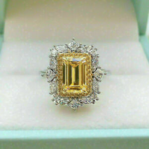3 Ct Emerald Cut Yellow Citrine Halo Vintage Engagement Ring 14k White Gold Over