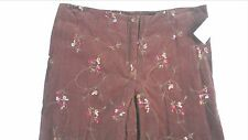 David Paul Floral Pants Womens SZ 8-12 Brown Lightweight Corduroy 33 x 32 NEW