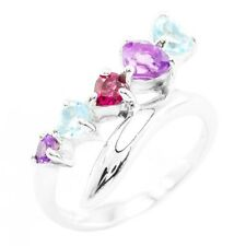 EARTH MINED 5MM TOPAZ RHODOLITE GARNET AMETHYST STERLING SILVER 925 RING SIZE 7