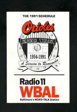 Baltimore Orioles--1991 Pocket Schedule--WBAL/Dial Soap/Santoni's