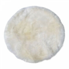 Lambskin Rug Circle White Long Wool Real Merino Sheepskin