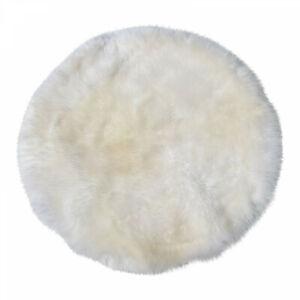 Lambskin Rug Circle White Long Wool Real Merino Sheepskin