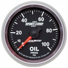 "Auto Meter 3621 2-1/16"" Sport-Comp II Mechanical Oil Pressure Gauge, 0-100 PSI"
