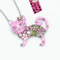 Pink Enamel Crystal Cat Kitten Pendant Chain Betsey Johnson Necklace/Brooch Pin